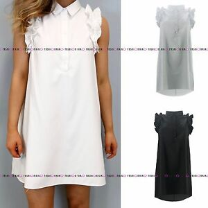 WOMENS-LADIES-RUFFLE-FRILL-SLEEVELESS-BUTTONED-HI-LO-COLLARD-SHIRT-DRESS-TOP