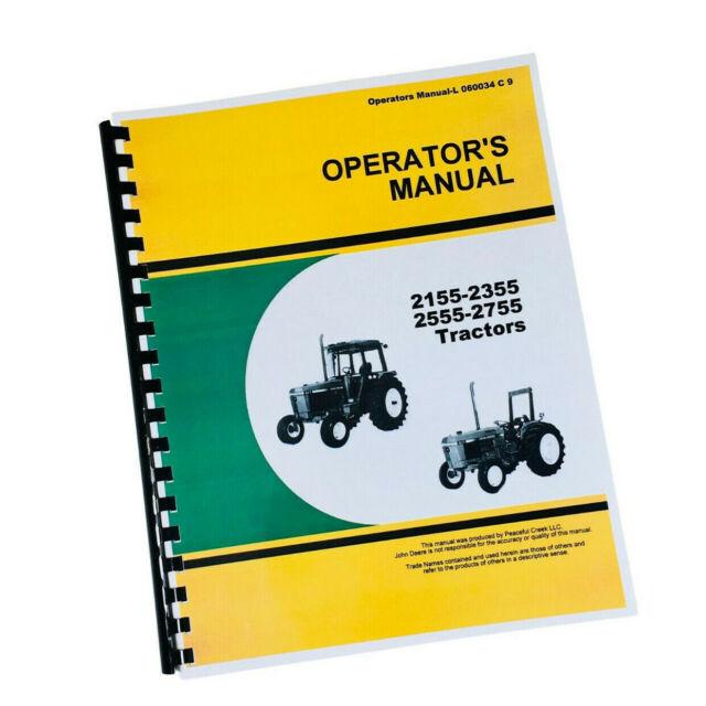 John Deere 2355 2555 Tractors Operators Owners Manual Lubrication Maintenance