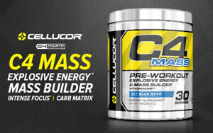 Cellucor-C4-MASS-Pre-Workout-Explosive-Energy-Mass-Builder-30-Srvs-ICY-BLUE-RAZZ