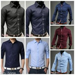 Image Is Loading Mens Solid Slim Fit Shirt Long Sleeve Casual