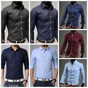 Mens Solid Slim Fit Shirt Long Sleeve Casual Shirt Wedding T-shirts ... d3071d3364f6