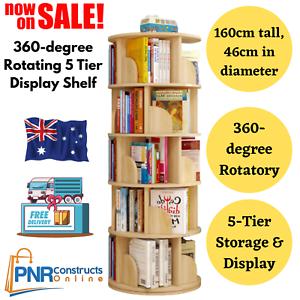 AU-1.6m Wooden 5Tier Rotating Revolving Book Shelf Bookcase Decor Organiser- Oak