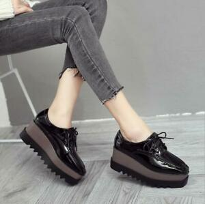 chic platform lace up wedge creepers spring faux leather