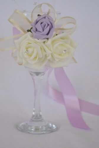Bridal wedding flower in LILAC bride bridesmaids groom Corsage wand buttonholes