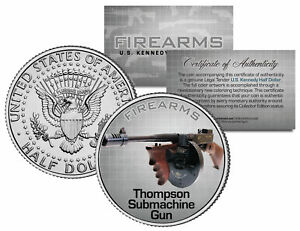 THOMPSON-SUBMACHINE-GUN-Firearm-JFK-Kennedy-Half-Dollar-U-S-Colorized-Coin
