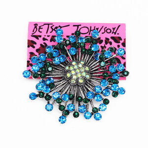 Betsey-Johnson-Jewelry-Blue-Crystal-Dandelion-Flower-Charm-Brooch-Pin-Gift