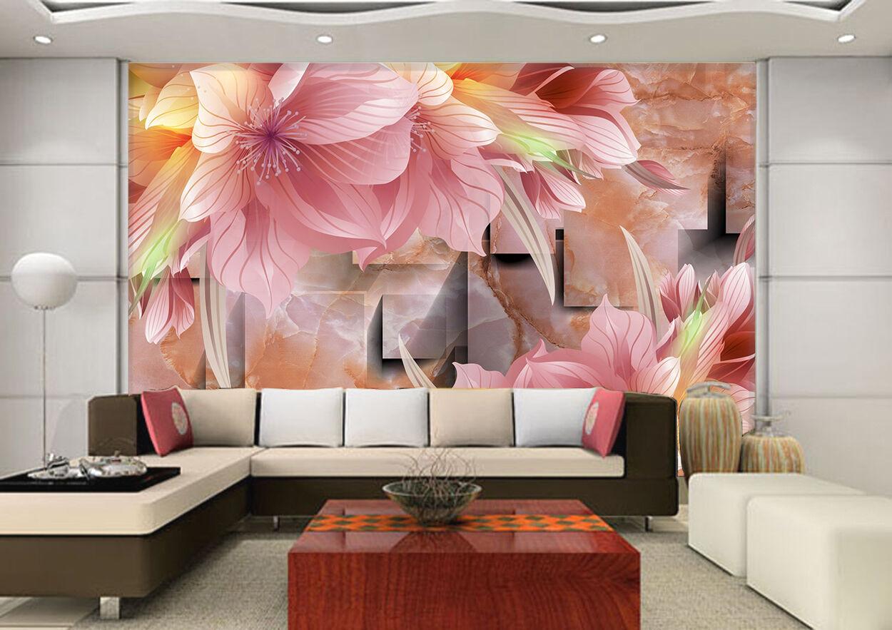 3D pink Blüten, Muster 3545 Fototapeten Wandbild Bild Tapete Familie Kinder