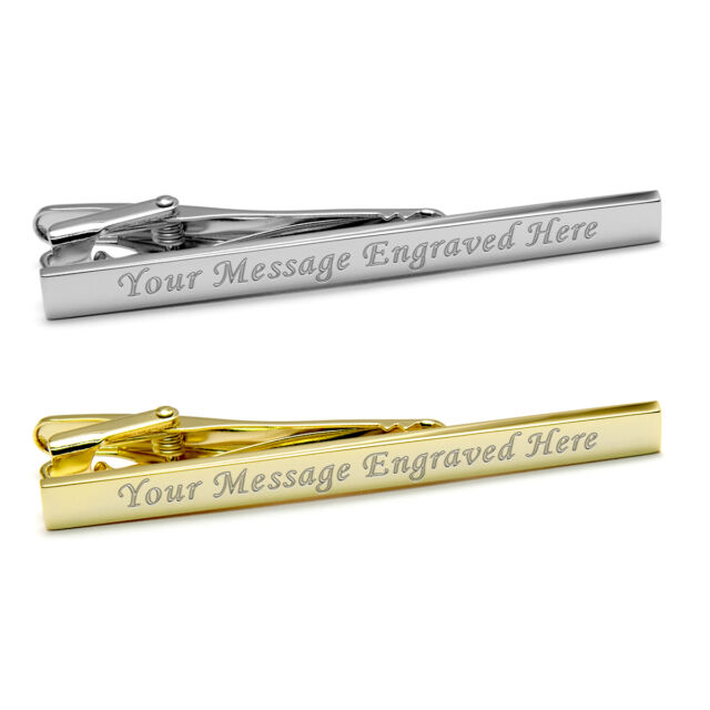 Engraved Gold or Silver Tie Clip Personalised Wedding Christmas Birthday Gift