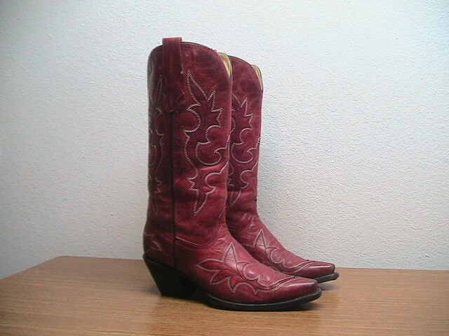 Womens 7 M Corral Red Distressed Leather Western Cowboy Boots