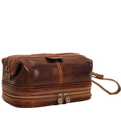 Floto Italian leather Positano Travel Kit Dopp Shave Kit Bag