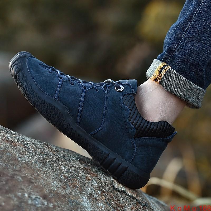 Para hombres Cuero Vaca Exterior Excursionismo Con Cordones Impermeable Antideslizante Informales Zapatos Deportivos