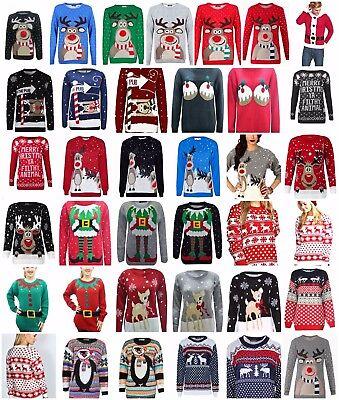 Christmas Xmas Unisex Ladies Mens Jumper Sweater Knitted Retro Novelty Vintage Zur Verbesserung Der Durchblutung