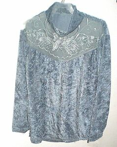 Gorgeous Velvet Look Laced Embroidered Chest Top Girls Teens Size L