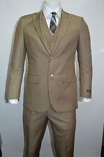 Men's Beige 3 Piece 2 Button Slim Fit Suit SIZE 38R NEW