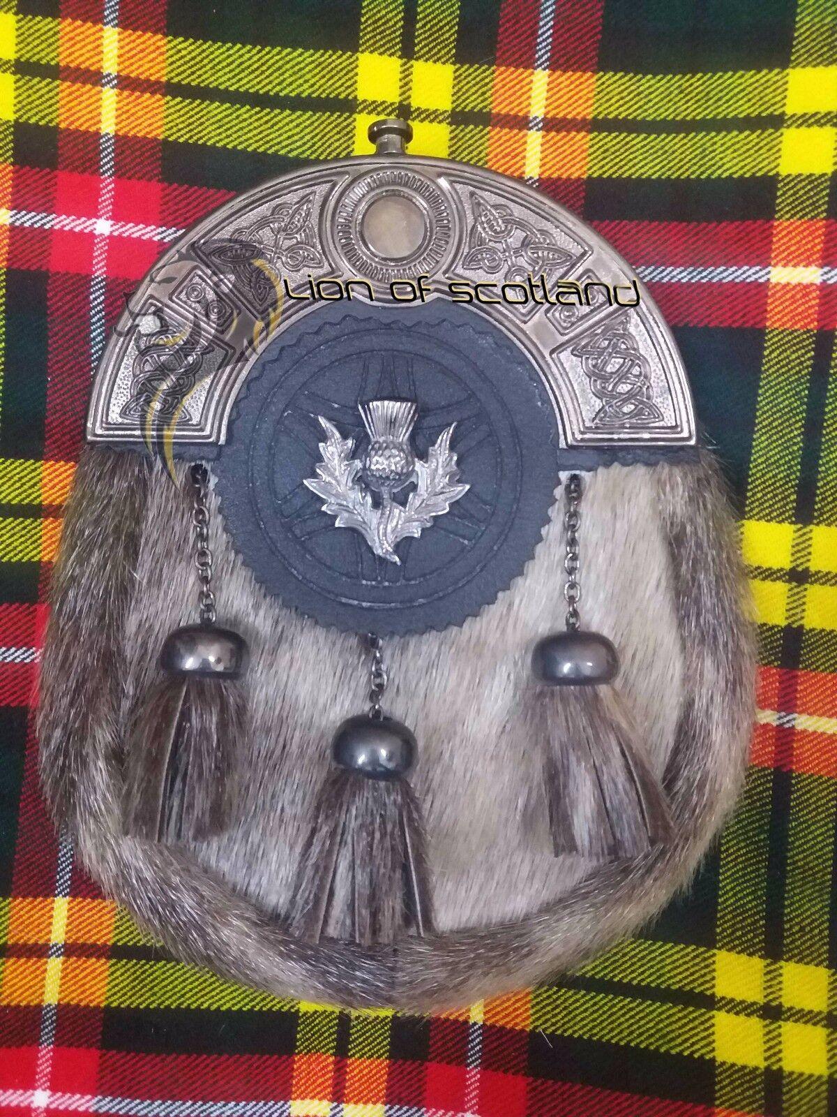 Scottish Dress Kilt Sporran Formal Seal Skin Celtic Cantle Antique Thistle Crest