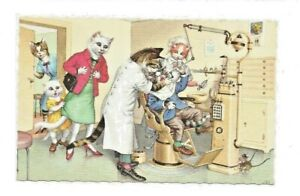 Vintage-Eugene-Hartung-Alfred-Mainzer-Anthropomorphic-Cats-Post-Card-No-4960