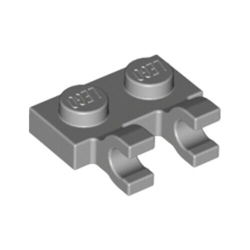 Lego 20x Medium Stone Grey 1x2 Plate with Two Holders Grips 4556157 60470 NEW