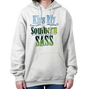 Kiss My Southern Belle Sassy Country Western Womens Hooded Pullover Sweatshirt