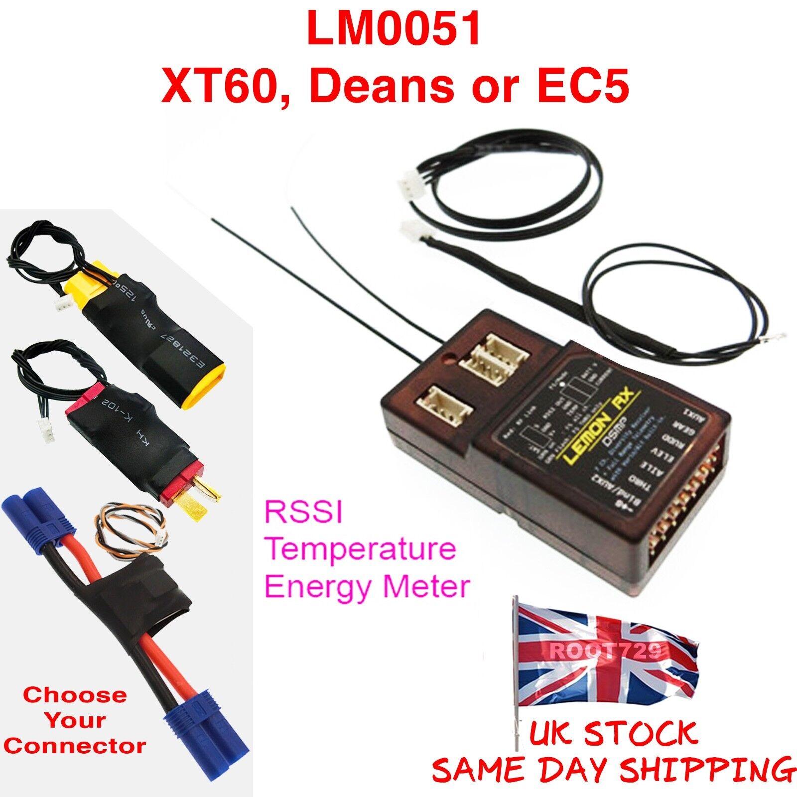 Lemon Rx DSMX 7 Channel Full Telemetry Diversity Receiver + Power - UK Seller