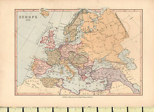 Map Of England France And Italy.Details About C1880 Map Europe 1878 Spain France Italy England Denmark Sweden