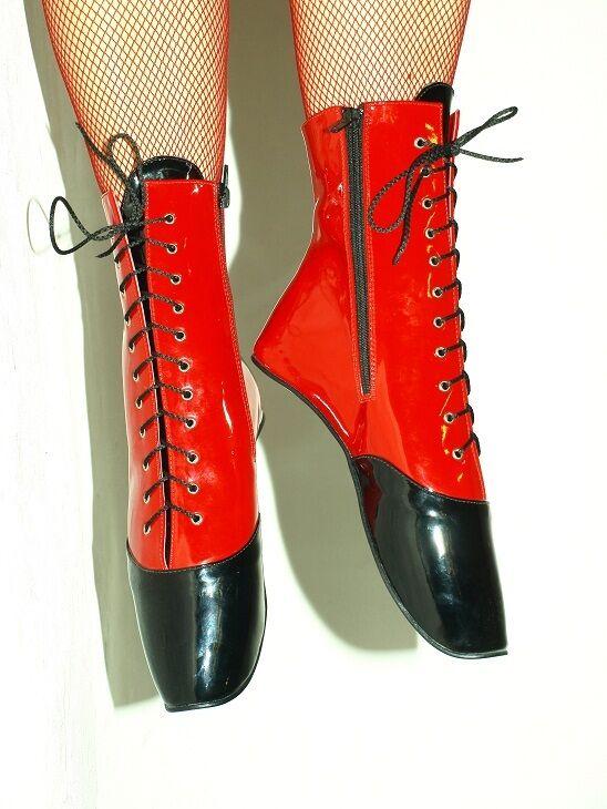 PATENT LEATHER nero&rosso BALLET scarpe Dimensione 10-16 HEEL-0' - POLAND FS1120