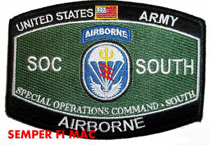 Details about US ARMY SPECIAL OPERATIONS COMMAND SOUTH COLLECTOR PATCH  AIRBORNE SPECIAL OPS
