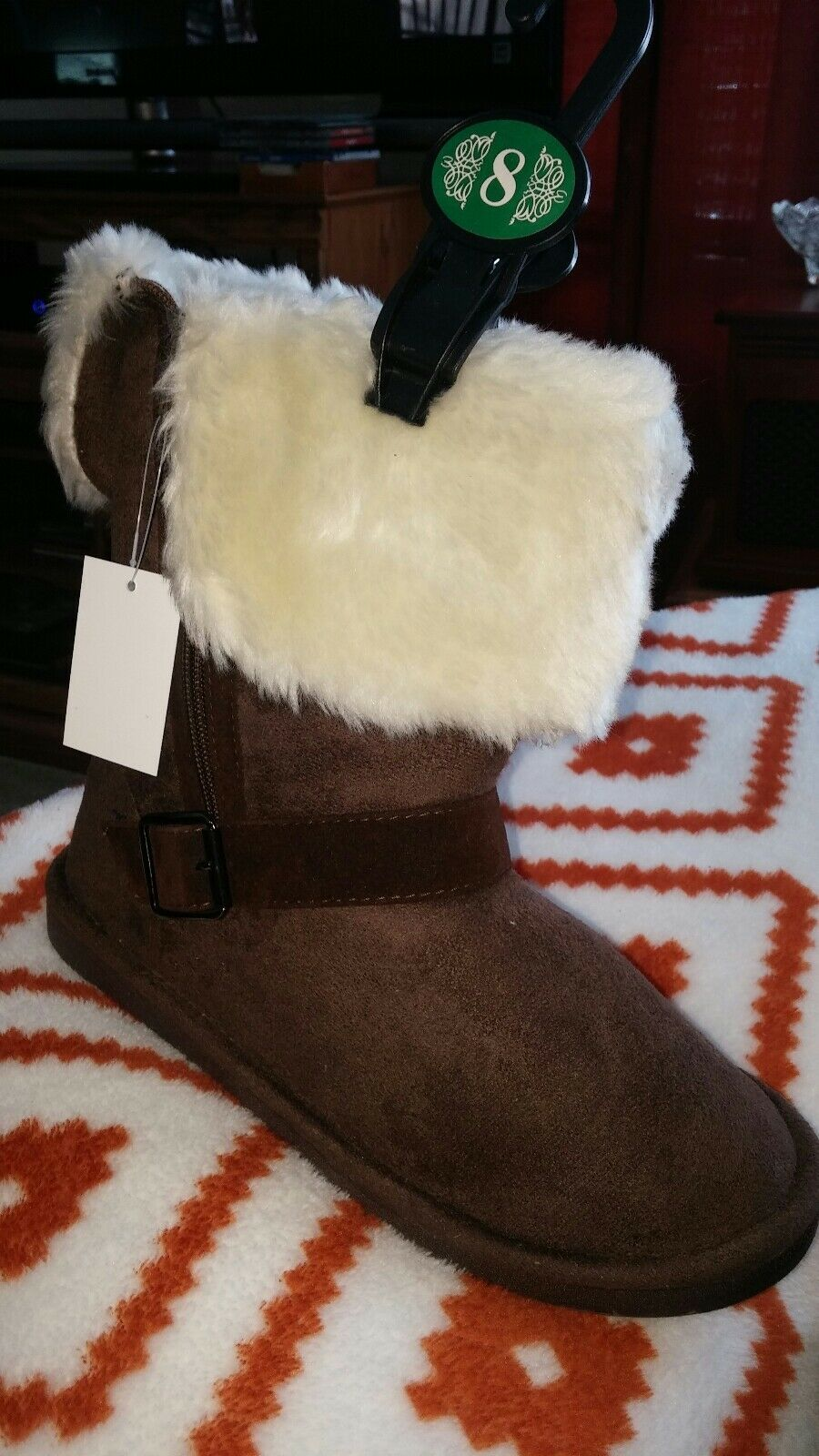 Size 11 chocolate brown Faux Shearling Short Ankle Boots NEW