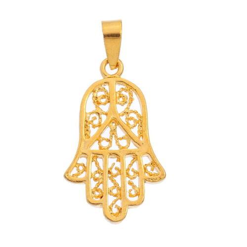 1 Vergoldet 24K Anhänger Collierschlaufe Hand der Fatima Amulett 3.2cm x1.6cm