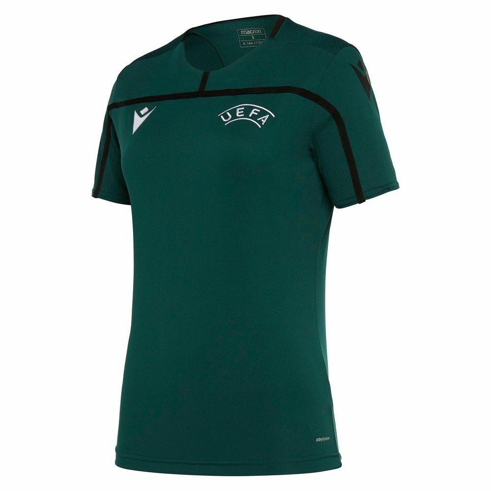 Macron Fútbol UEFA árbitro  19 Para mujeres Mangas Cortas Camiseta Tee Ss Cuello rojoondo  barato