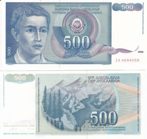 Yugoslavia 500  Dinara 1990 Serial ZA Replacement UNC