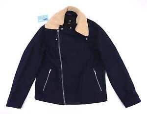 H&M Womens Size EU 54 Wool Blend Blue Sherpa Warm Autumn Winter Casual Jacket