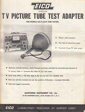 Vintage Eico Model Cra Tv Picture Tube Test Adapter Booklet For 625 625k