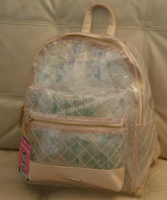 df34d08d87d NEW WT WOMEN S CLEAR QUILTED LOOK RAMPAGE BACKPACK SEE THROUGH PINK BLUSH   98