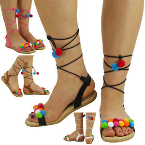 New-Womens-Ladies-Strap-Flats-Lace-Up-Shoes-Padded-Comfort-Pom-Pom-Sandals-Size