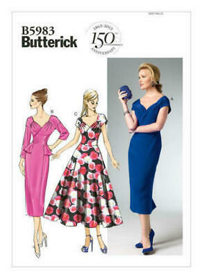 B5951 Butterick 5951 Sewing Pattern Misses/' Retro Fitted Dress Sleeve Var 1950s