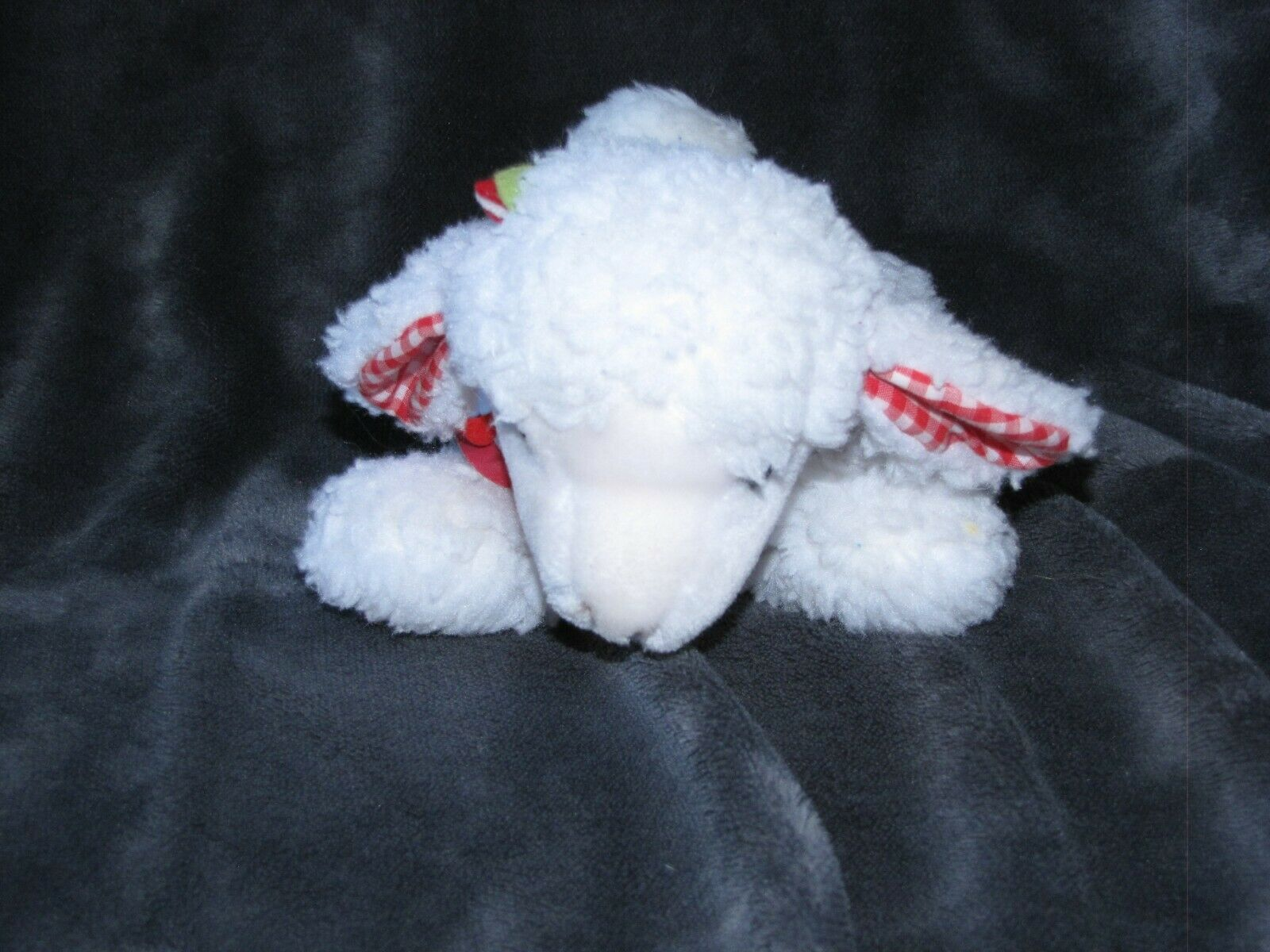 Vintage Eden Peluche Peluche Mary Had a Little Lamb musical Wind Up Cuadros Rojos