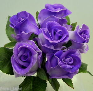 silk wedding bouquet latex flower purple rose posy real touch pre