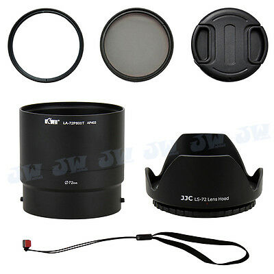 72mm UV CPL Filters+Lens Adapter+Hood+Cap for Nikon COOLPIX P600 P610 P610S B700