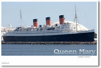 Rms Queen Mary Cruise Ship Long Beach - Travel Print - Poster