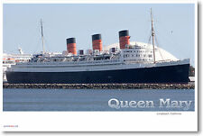 RMS Queen Mary Cruise Ship Long Beach - Travel Print - NEW POSTER