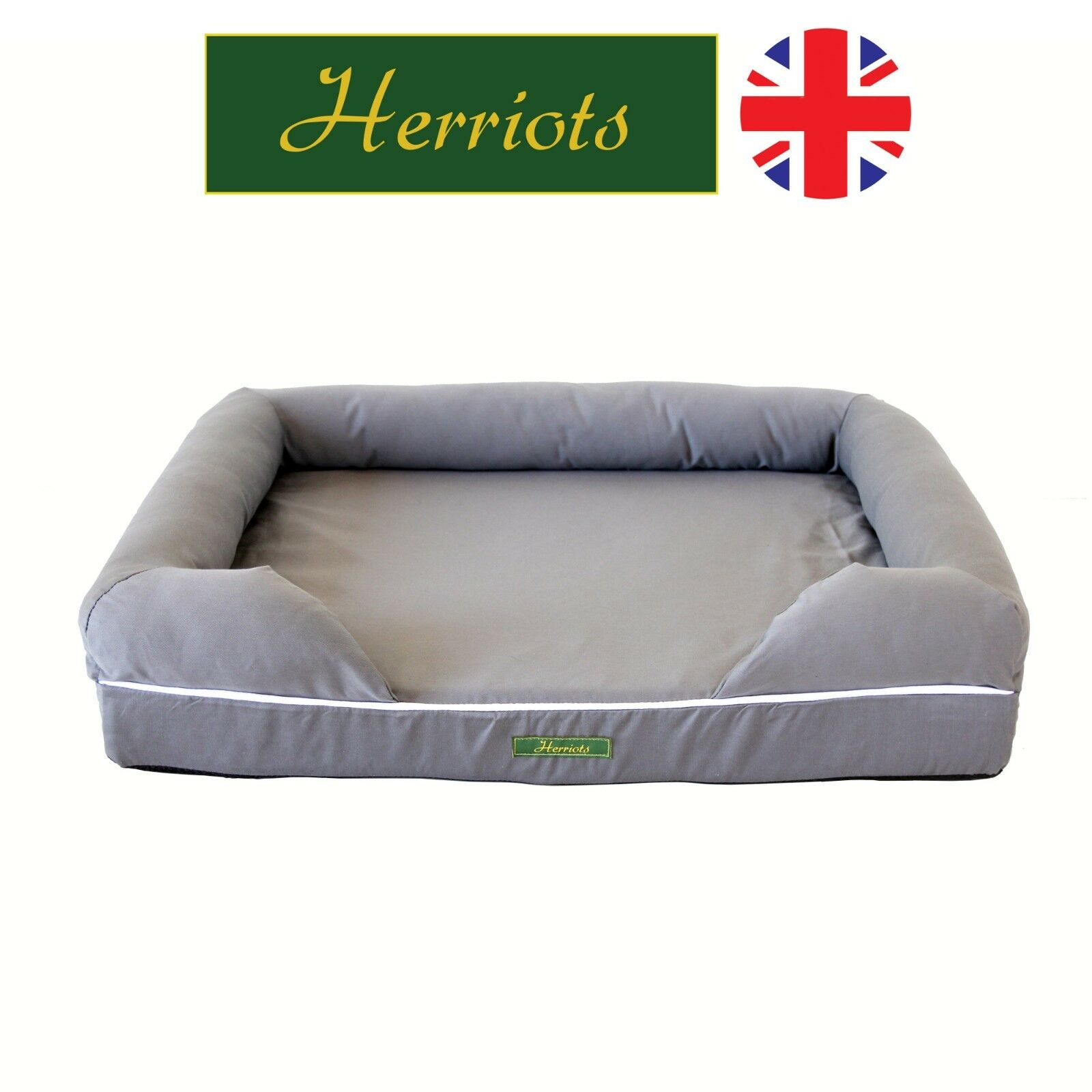 Memory Foam Dog Bed Orthopaedic Mattress Large Grey - Staffordshire Bull Terrier