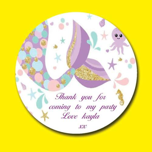 MERMAID TAIL PERSONALISED BIRTHDAY PARTY SWEET CONE GIFT BAG SEAL STICKER LABEL