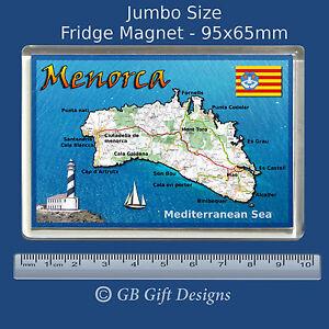 Menorca Map Spain Flag Mediterranean Island Jumbo Fridge Magnet