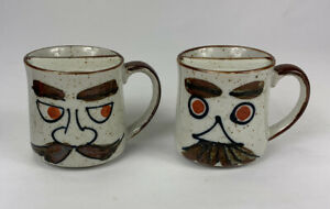SET-OF-2-Vintage-Spill-Proof-Ceramic-Funny-Mustache-Man-Face-Coffee-Mugs-Tea-Cup