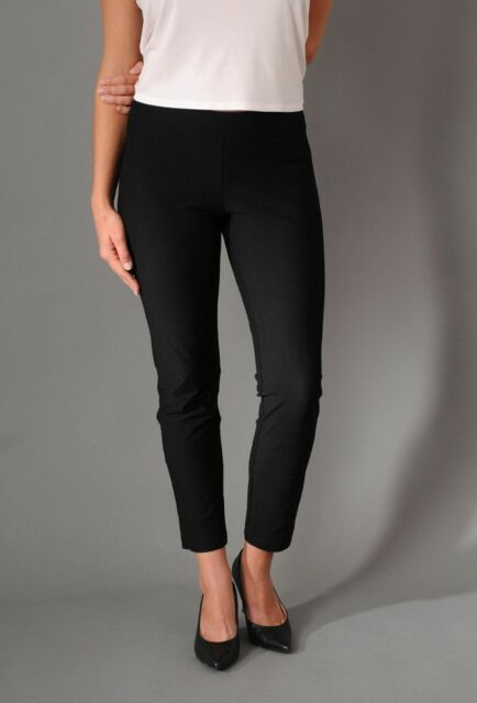 Eileen Fisher Crepe Slim Ankle Stretch Pant with Yoke, Black - Size Petite Small