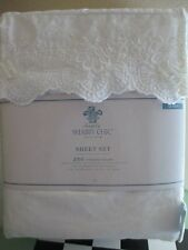 Rachel Ashwell Simply Shabby Chic Woodrose White Embroidered Sheet Set- Queen