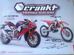 HONDA-MOTORCYCLE-SIGNED-RACING-TEAM-POSTER-CBR-MOTOCROSS-ACERBIS-ALPINESTAR-123