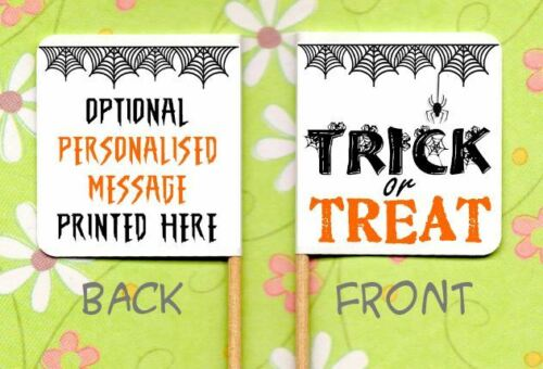 20 HALLOWEEN TRICK OR TREAT CUPCAKE FLAGS Party Pick Food Flag Topper Decoration