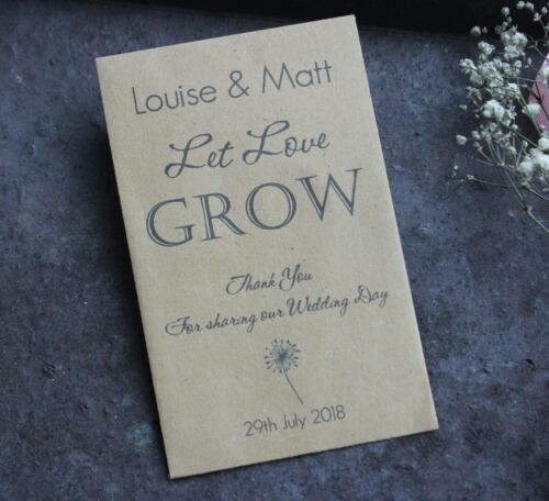 LET LOVE GROW-Personalised Seed Packets-Envelopes-Wedding Favours-Rustic-Vintage
