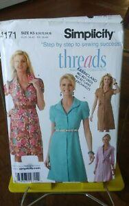 Simplicity-Threads-4171-misses-shirt-dress-collar-sleeve-variations-sz-8-16-NEW